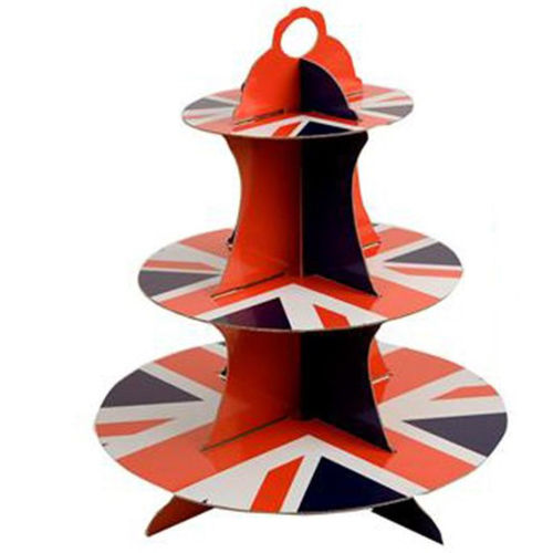 Union Jack Cake Stand, 3 tiers that slot together for easy storage, sturdy card shapes, union jack pattern red white and blue, size: (h) 35cm x (dia) 30cm