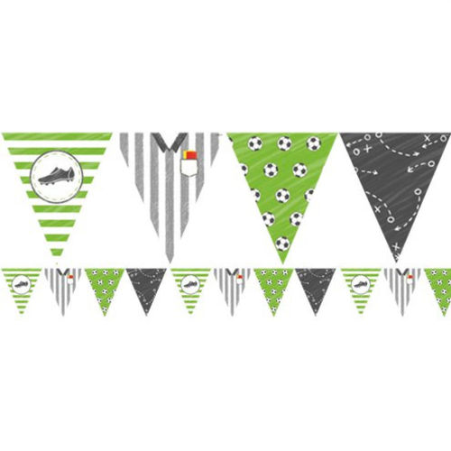 Football Fun Bunting party decoration, green and black assorted pennant designs, includes footballs, playing shirt and boot, lightweight PVC material.