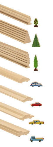 Craft Rods - Vehicles and Trees, 7 assorted shapes truck limousine sports car poplar tree fir tree fruit tree, natural wood lengths ready to cut