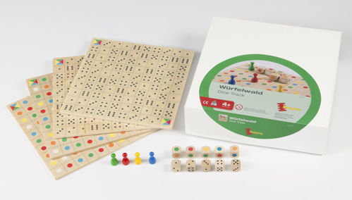 Dice Forest Game, wooden strategy game, Made from eco friendly birch wood.  Set includes:  4 x wooden game boards (double-sided) 5 x dice 5 x colour dice 4 x pawns (one each yellow, red, green and blue) instructions Size: (l) 20cm x (w) 20cm x (d) 0.5cm. Dice: (l) 1.6cm x (w) 1.6cm x (d) 1.6cm.