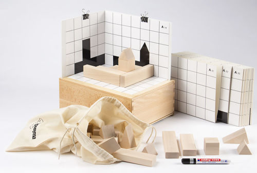 Shadow Skylines Game, eco friendly natural rubber wood shapes to build and match the shadow, Set includes:  20 x cubes 4 x long cuboids 4 x short cuboids 6 x equilateral triangles 4 x isosceles triangles 20 x shadow template cards 1 x blank template card for your own pattern 1 x wipe off pen 2 x template clips cotton storage bag instructions wooden storage box Size: Box: (l) 31.5cm x (w) 23.5cm x (d)12.5cm. Cube: (l) 4cm x (w) 4cm x (d) 4cm.