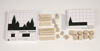 Shadow Skylines Mini game, wooden shapes to match a shadow template, natural wood with white and black wipe clean laminated card templates, Set includes:  10 x cubes 4 x long cuboids 4 x short cuboids 4 x equilateral triangles 2 x isosceles triangles 18 shadow templates to match 1 x blank template for your own pattern Size: Cube (l) 2cm x (w) 2cm x (d) 2cm.