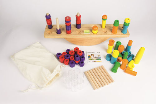 Balancing Duo game, wooden see saw to try to balance with playing pieces, natural beech wood platform, Set includes:  wooden scales with 16 drilled holes 32 playing pieces 12 posts 8 x acrylic clear containers 1 x acrylic spirit level instructions Size: Wooden scales (l) 55cm x (w) 9cm x (h) 12cm.