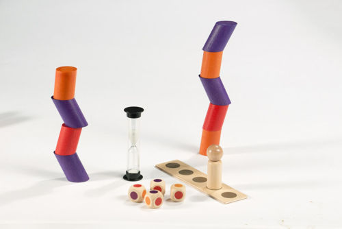 Mini Wonky Towers Game, colour coordinated stacking game for care homes, Set includes:  7 x colour dice 21 stacking stones (7 each purple, orange and red) 6 x game figures 6 x counting boards 1 x timer (30 seconds) Size: Stones: (h) 3.6cm x (dia) 2.5cm, game figures: (h) 5cm x (dia) 2cm, cube: (l) 1.8cm x (w) 1.8cm x (d) 1.8cm.