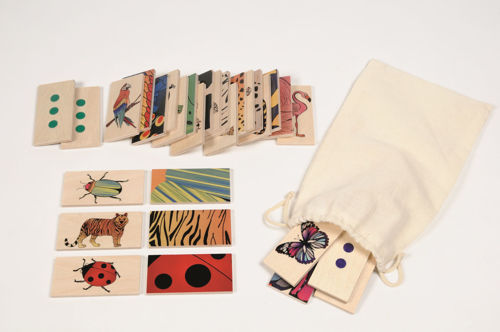 Animals and their Patterns, matching pairs activity for care homes, tactile wooden tablets with either animals or their coat in close up, natural wood on revers with colourful images on other side, Set includes:  15 x animal wooden tablets 15 x animal wooden 'coat' tablets cotton storage bag instructionss Size: tablet: (l) 8cm x (w) 4cm.