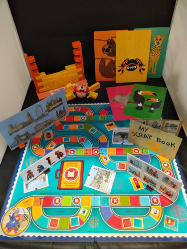 Nostalgic Games Set, 3 assorted games, one each Sightseeing with Paddington Bear, Humpty Dumpty Wall Game and Collossal Cards Game, assorted vibrant colours