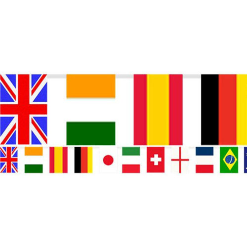 Multi Nations Flags Bunting, plastic multi coloured bunting with oblong world flags for sport celebrations world cup etc, size: (l) 7m