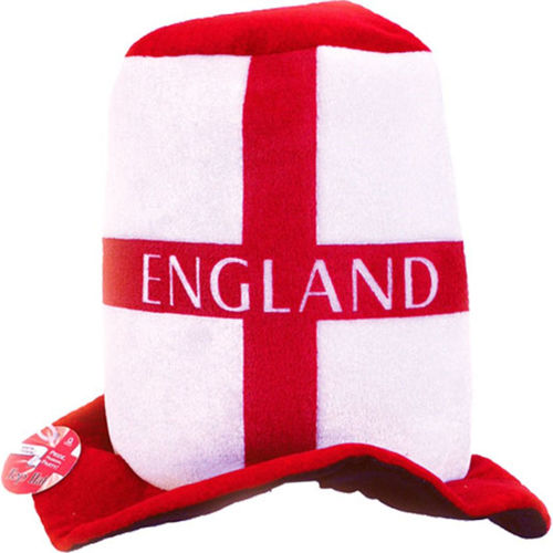 England Top Hat, set of 4 red and white plush fabric England hats, has the word England horizontally across the hat, fully washable soft man made fabric, size: (h) 24cm