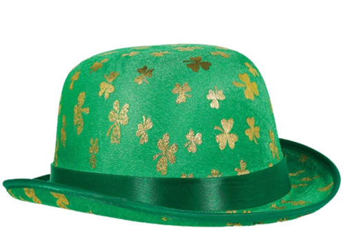 St Patrick's Shamrock Derby Hat, Irish supporter's hat, green man made material with gold shamrock print green satin ribbon around base