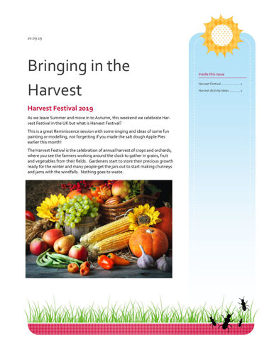 Activities to Share - Bringing in the Harvest