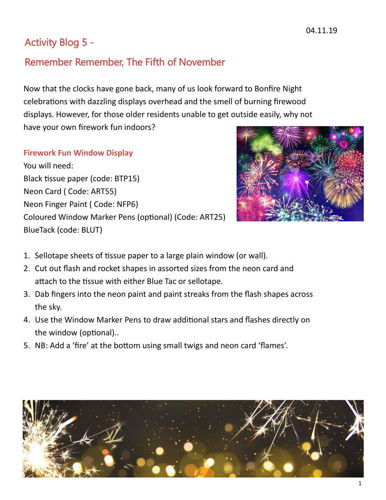 Activities to Share -Firework & Remembrance Sheet