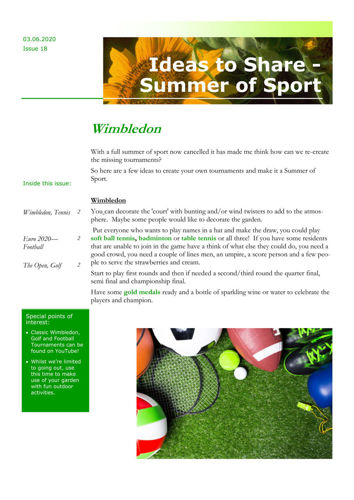 Activities to Share - Summer of Sport
