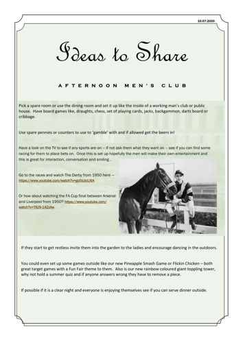 Activities to Share Afternoon Men's Club