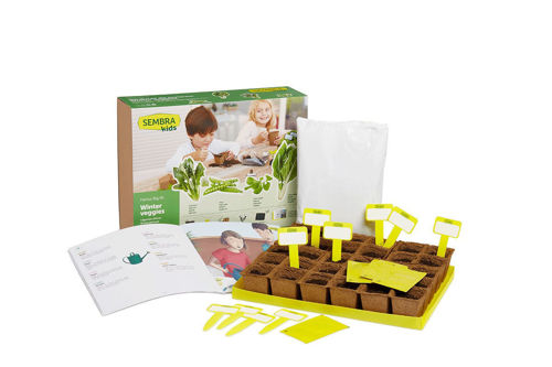 Winter Vegetable Growing Kit, makes 12, boxed kit with images of leafy produce showing kit instructions and yellow lables, Contains:  4 seed envelopes: Spinach; Peas; Chard and Lamb's Lettuce 30 biodegradable pots to plant seeds Fully illustrated step-by-step guide book Labels Tray Substrate Size: box: (l) 34cm x (w) 25.5cm x (d) 9.5cm.
