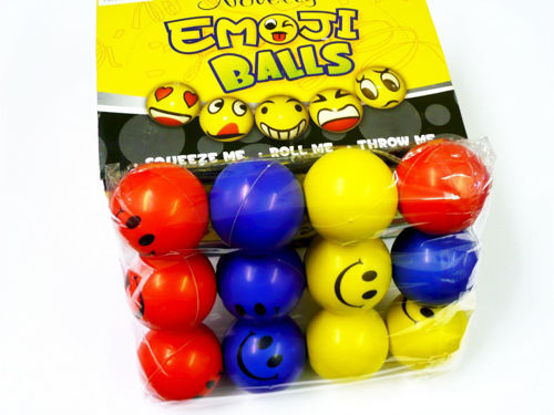 Soft Ball Set, spongy soft balls for all sports and fitness fun, 4 each red blue and yellow balls, each ball has a smiley face in black printed