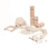 Team Tower Building Set, builds patience and cooporation with groups, eco friendly materials of natural wood rope and metal, Set includes:  6 x wooden blocks 1 x bracket with metal rod 1 x plate with 12 holes 24 x ropes Size: Block: (l) 17cm x (w) 5.5cm x (d) 5.5cm. Cords: (l) 2m.