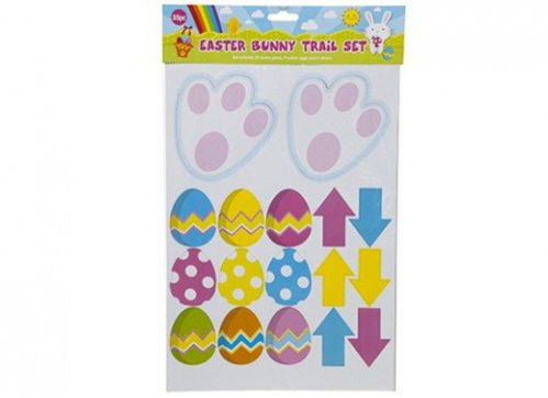 Easter Egg Hunt Kit, assorted fun stickers in yellow, purple and blue colours, white bunny feet with pink pads, Set includes:  2 x bunny paws 9 x Easter eggs 6 x arrows