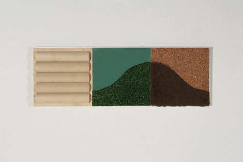Sensory Wall Panel Set - Touch 2, tactile wall panel for dementia residents, materials include birch rollers artificial turf  cork  rubber and fur. Wooden and aluminium frame, Size: (l) 91cm x 31cm.