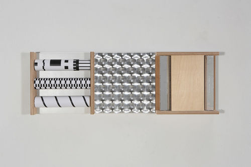 Sensory Wall Panel Set - Visual 1, natural plywood and aluminum activity panel, consists of 3 x various black/white patterned roller cylinders for visual effects, 1 x patterned mirrored panel and 2 x movable mirrored panels, Size: (l) 91cm x (w) 31cm.