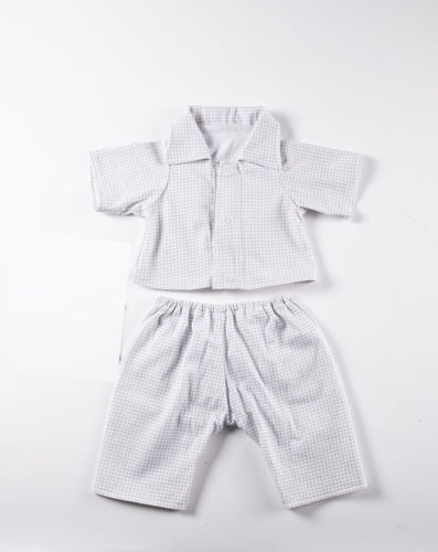Empathy Doll Pyjamas Set, 10% cotton grey and white check 2 piece pyjama set. Button opening top and elasticated waist bottoms to fit Empathy JOYK doll
