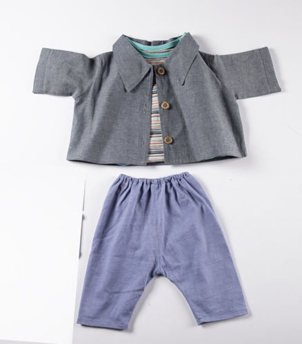 Empathy Doll Denim Set, includes 1 each jacket, striped teeshirt, trousers hat, scarf and gloves, cotton