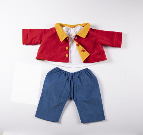 Empathy Doll Outdoor Set, set comprises of 1 each red cord jacket, blue cord trousers, white long-sleeved tee shirt,  blue/yellow reversible hat and blue cord shoes