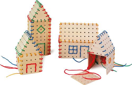 Architects Threading Designs, white wooden lacing shapes in assorted sizes, Set includes:  36 shaped wooden pieces, assorted coloured laces Size:Largest piece: (l) 20cm x (10cm x (d) 0.5cm.
