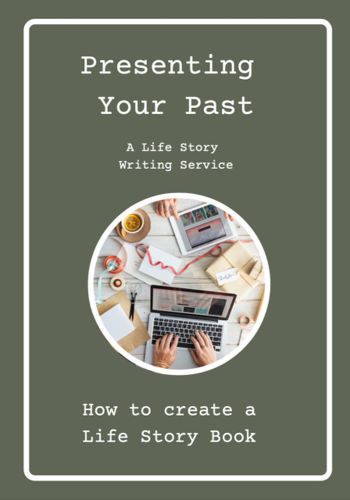 Life Story Guide Book, Presenting Your Past, life story writing service, downloadable service, grey cover with white writing, circular image shows someone typing on a laptop with photographs around, size A5, 48 pages