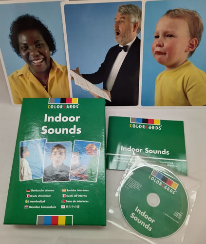 Sounds Indoors CD and Card set, listening game for care homes, image shows 3 x photo cards with lady, man and child, card storage case in green, green CD and green instruction booklet