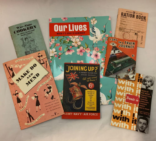 Booklet Collection, set of 7 assorted nostalgic memorabilia booklets including Wartime Cooker, Make Do and Mend, Joining Up, I Spy on a Train, WW2 Ration Book, With It 1960s Trends and Our Lives, reminiscence therapy aids for care homes