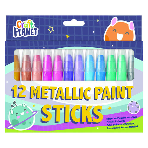 Metallic Paint Sticks, set of 12 assorted colours, can be used on paper, card, plastic, glass and rubber stamps.  Paint is water-soluble an non-toxic.  one each of:  gold bronze copper magenta pink purple lilac light blue blue green light green  silver, image shows coloured card with pens displayed through clear plastic cover