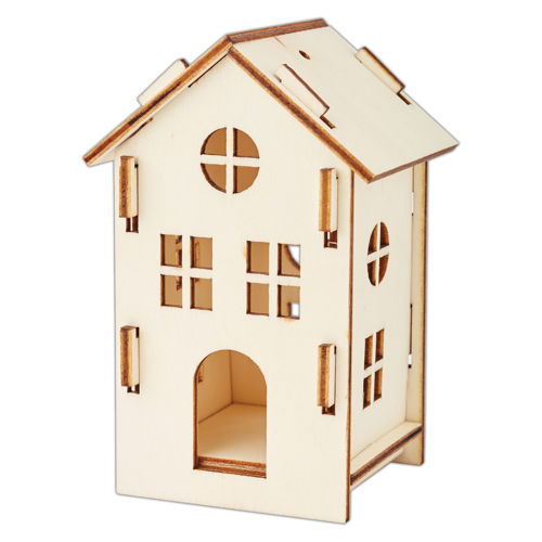 Medium Wooden House Kit (3mm plywood), pre-cut shapes to slot together, image shows assembled house in natural wood with cut out windows (square and circular) and arched door, Size: (w) 7cm x (h) 11.3cm. 3mm plywood.