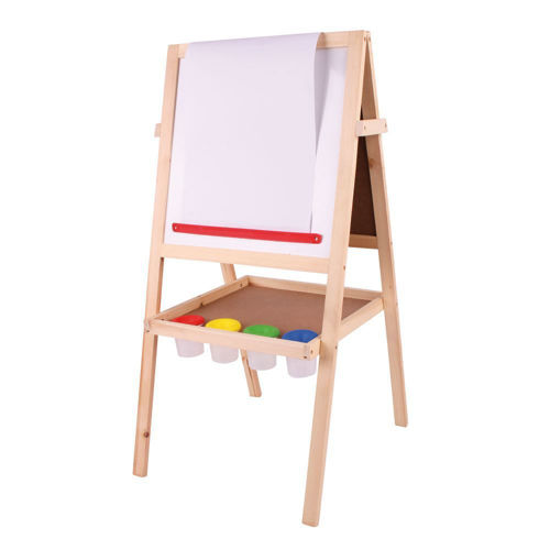 Art Easel set, wooden frame - image shows standing easel with white magnetic board facing, Kit includes:  Easel with a wipe-clean magnetic whiteboard on one side and a blackboard on the other Includes paper roll, 4 paint pots, a board eraser and 12 coloured chalk sticks Encourages creativity Storage tray underneath Sturdy wooden frame Easy assembly Size: (w) 48cm x (h) 89cm x (d) 41cm.