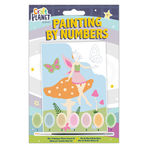 Paint by Numbers Mini kit includes a canvas with bold outlines of the fairy image - each area with a coded number that links to the paint colour needed, with 7 pots of acrylic paint and a brush.  Size: Finished image measures 21cm x 14.8cm.