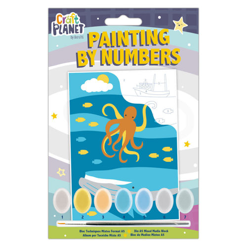 Paint by Numbers Mini - Underwater, painting kit contains printed canvas with numbered areas linking to colours, 7 x acrylic paint pots and brush, size: 210mm x 148mm