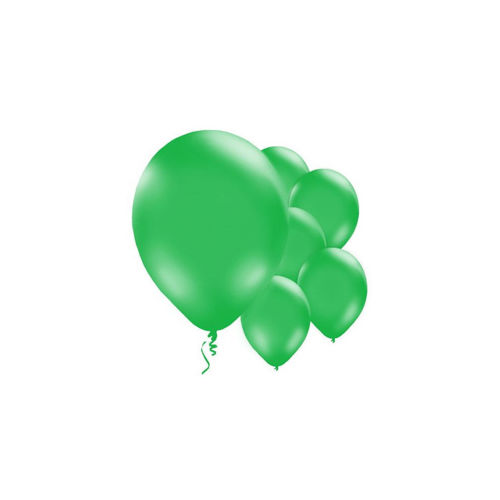 Green Balloons - pack of 10, image shows 6 plain mid-green inflated balloons