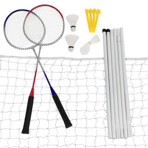 Badminton Set With Net, set comprising 2 x racquets, 2 x shuttlecocks, 1 x net, 4 x stabilising pegs and cord