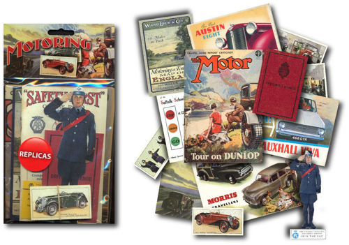 Memorabilia Pack - Motoring, filled with many replica items from the Golden Age of motoring, Pack includes:  Autocar magazine, 1930's Road User's Guide, 'Have a Care' booklet, Variety of motoring ephemera, Morris Traveller sales brochure, Advertising Trade cards