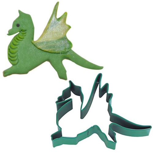 Dragon Cookie Cutter - washable metal cutter in green, image shows cutter alongside a green clay dragon shape with white background