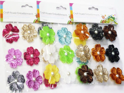 Craft Glitter Flowers, pack of 9 assorted fabric flowers for card making and all arts and  crafts projects, images shows 3 x hanging clear packs of flowers in assorted colours
