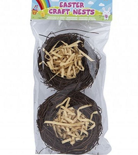 Craft Chick Nests - pack of 2 natural brown straw nests filled with beige shredded paper, image shows 2 nests in clear hanging display bag with colourful label