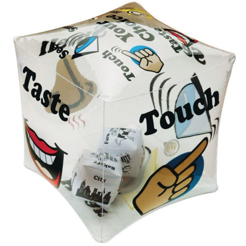 Toss and Talk Cube - Talk About Your Senses, printed inflatable cube with smaller cubes inside, outer depicts senses images and words and inside cubes show images of various scenes, image shows inflated cube with colourful images, size: 30cm