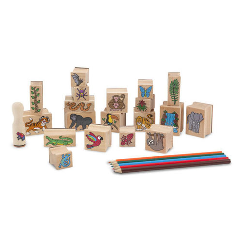 Stamp a Scene - Rainforest, 20 wooden and rubber outline stamps with images of monkey, snake, gorilla, parrot etc, set includes ink pad with blue and green ink, 5 x colouring pencils and wooden storage tray.