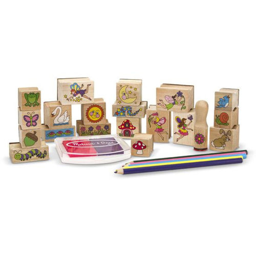 Stamp a Scene - Fairy garden, 20 assorted wooden and rubber stamps in assorted fairy garden shapes eg: frog fairy butterfly toadstool, includes 5 x colouring pencils and ink pad in pin and purple plus wooden storage tray