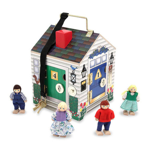Doorbell House Tactile Activity, image shows wooden house with coloured doors (one green and one blue) and 4 x wooden figures, long black tape hanging from roof with 4 x keys, each door has metal lock and hinged doors to open, Set includes:  1 x wooden house 4 x wood/fabric play people 4 x lock and key pairs on a secure tape. Size: 18.24cm x 19.05cm x 25.04cm.