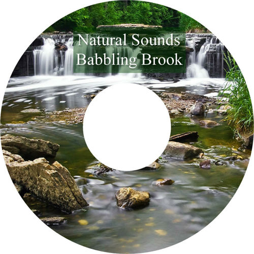 Relaxation - Babbling Brook Sounds CD, image shows CD with photo of woodland waterfall with rocks and greenery, running time - 60 minutes.