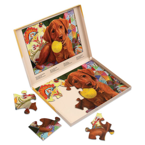 13 Large Piece PUzzle - Puppy Play Time, extra large pieces for easy grip, image shows part completed puzzle inside storage box, brown labrador puppy with yellow ball in its mouth, box lid has completed picture to follow, Storage box shows the finished picture to follow.  Size: Box: (w) 31cm x (h) 22cm x (d) 2cm.