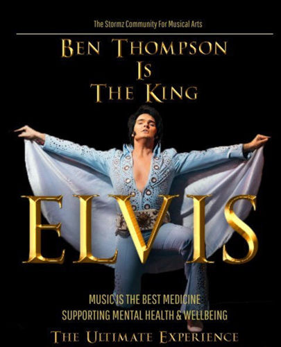 Elvis Musical Concert - Live, Ben Thompson is 'The King' in a musical singalong show for care home residents, image shows 'Elvis' dressing in flamboyant pale blue sequinned outfit with cape, arms outstretched and black background, gold text