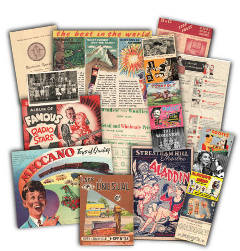 Memorabilia Pack - 1950s Childhood, images shows display of various replica leaflets and Items include:  Meccano brochure I-Spy The Unusual booklet Brownie and Scout leaflets Aladdin Panto programme Back to School ephemera Famous Radio Stars booklet Miscellaneous images and cards It is packaged in a clear bag with header card.chures from 1950s,