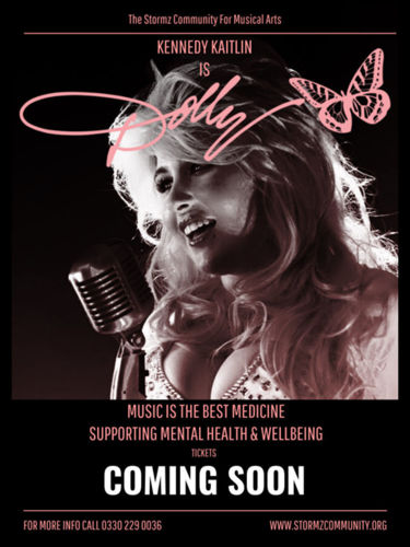 Stormz Dolly Tribute Concert, downloadable concert for care homes, image shows Kennedy Caitlin dressed as Dolly lookalike in monochrome with pink text
